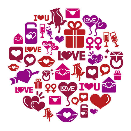 Valentines and Love Icons in Circle Shape Vector
