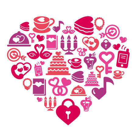 love kiss: Valentines and Love Icons in Heart Shape