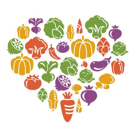 Ikony roślinne w kształcie serca Ilustracje wektorowe