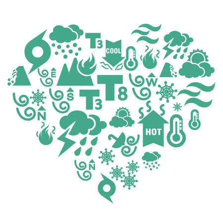 Weather Icons in Heart Shape Vector