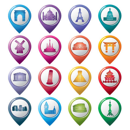 Famous Scenic Spots Pointer Icons Vector