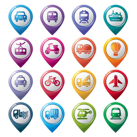 Transportation Pointer Icons Vector