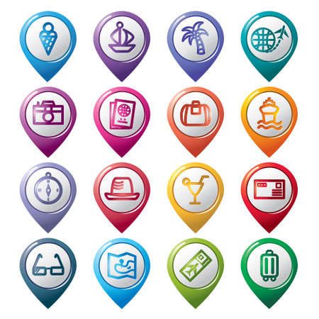 Travel and Vacation Pointer Icons Vector