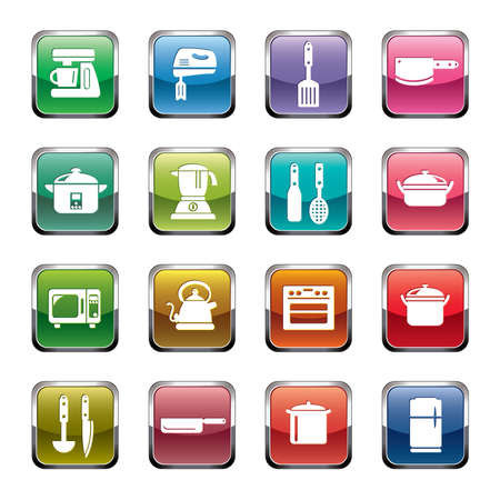slotted: Kitchen Utensils and Appliances Icons Illustration
