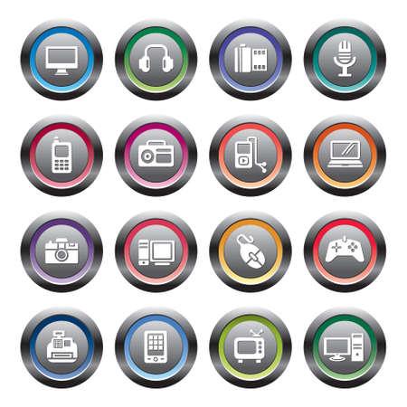 electronic organizer: Digital Products Icons Illustration