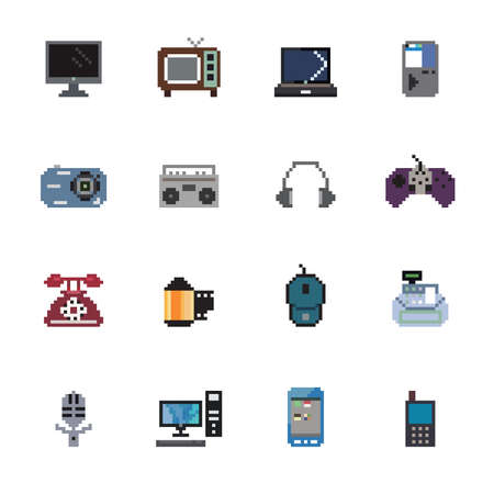 pixel art: Digital Products Pixel Icons Illustration