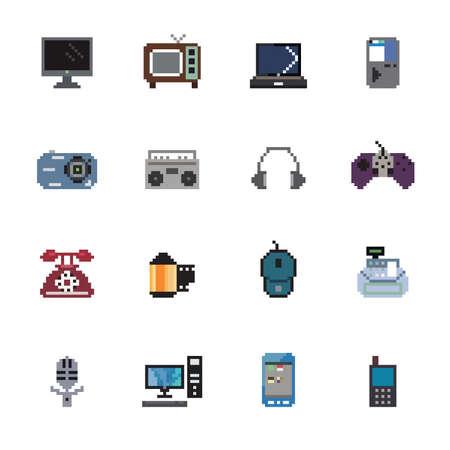 Digital Products Pixel Icons Ilustracja