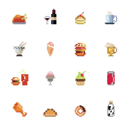 Food and Drinks Pixel Icons