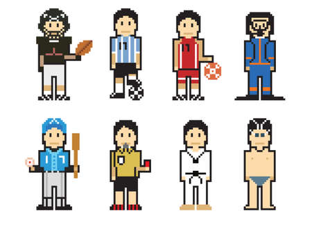 Pixel People Icons (Athlete) Vector