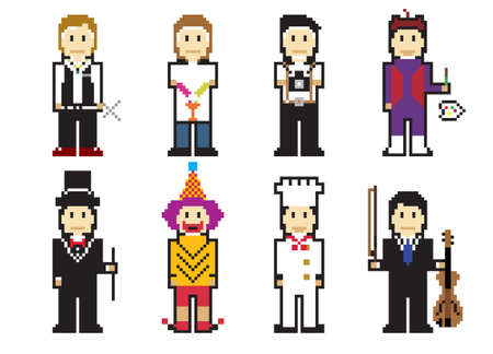 Pixel People Icons (Professionals) Vector