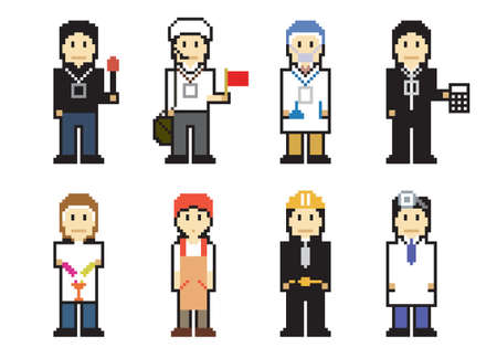 Pixel People Icons Vector