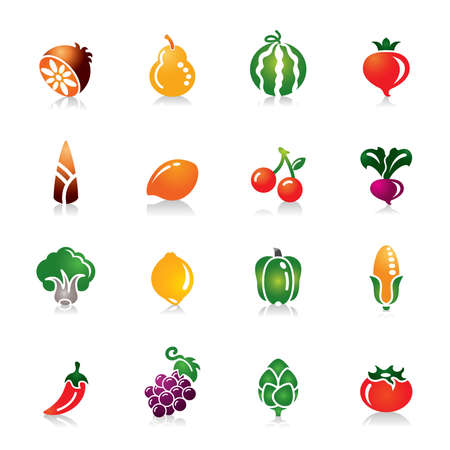 Fruit and Vegetables Colorful Icons Vectores