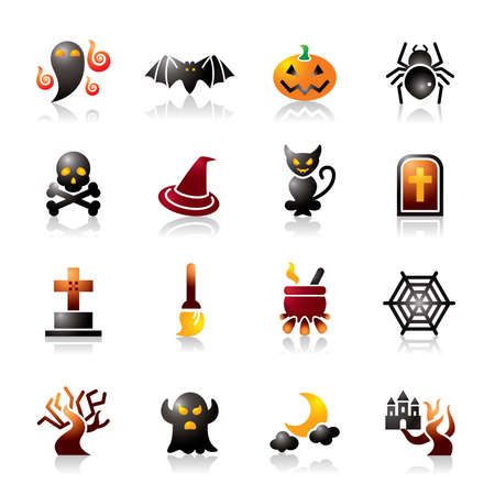 Halloween Colorful Icons Vector