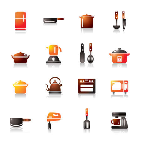 houseware: Kitchen Utensils and Appliances Colorful Icons