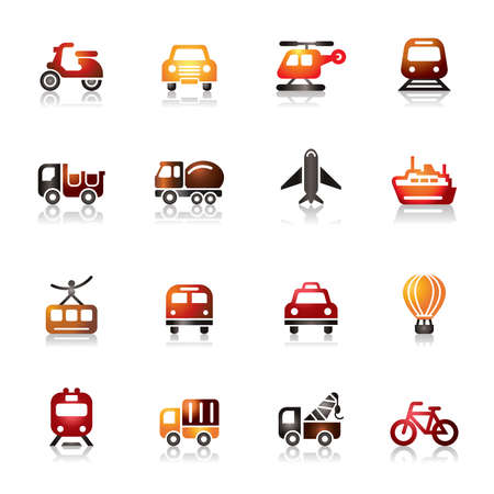 Transportation Colorful Icons Vector