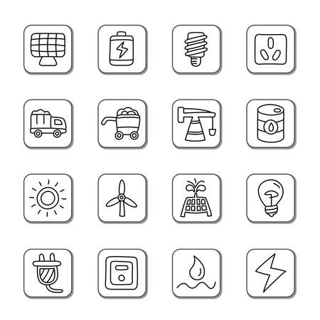 natural gas: Energy Doodle Icons Illustration