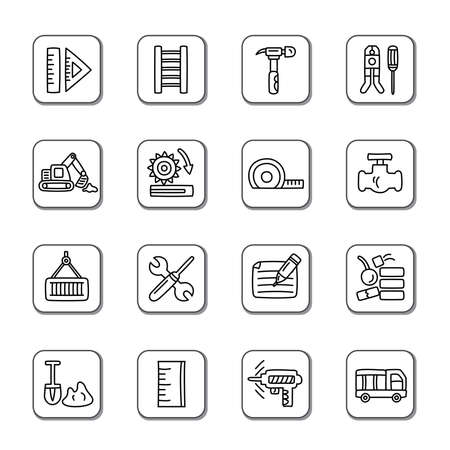 Construction Doodle Icons Vector