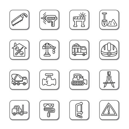 housing styles: Construction Doodle Icons