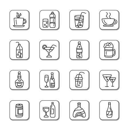 Drinks Doodle Icons Vector