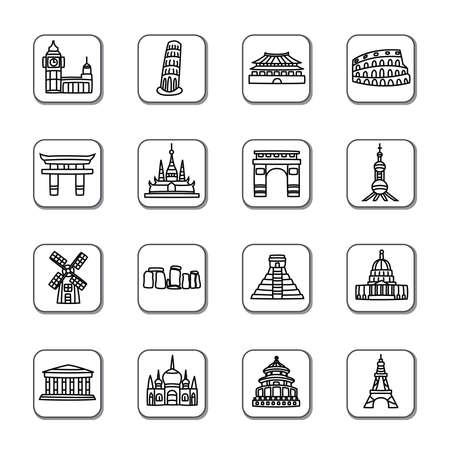유명한: 유명한 관광 명소 낙서 아이콘