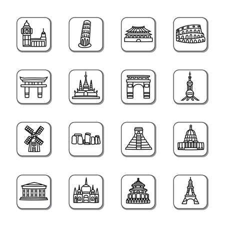 scenic spots: Famous Scenic Spots Doodle Icons