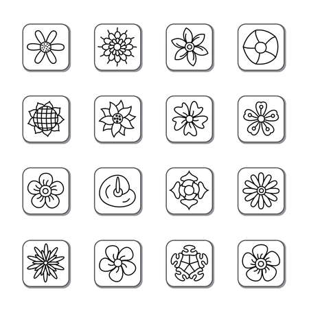 Flowers Doodle Icons Vector