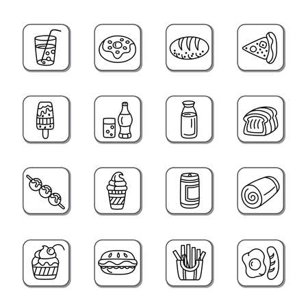 Food and Drinks Doodle Icons Vector