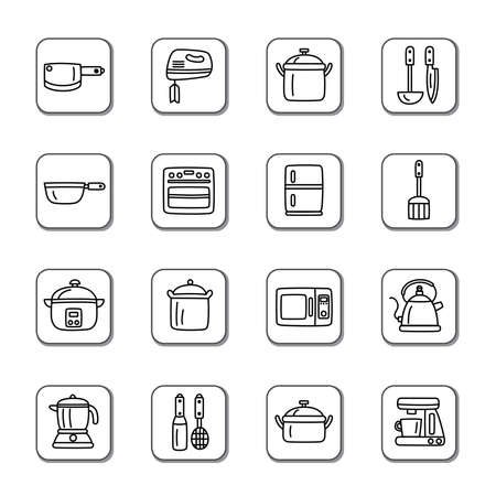 Kitchen Utensils and Appliances Doodle Icons Vector