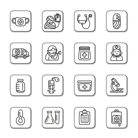 pressure bottle: Medical Doodle Icons Illustration