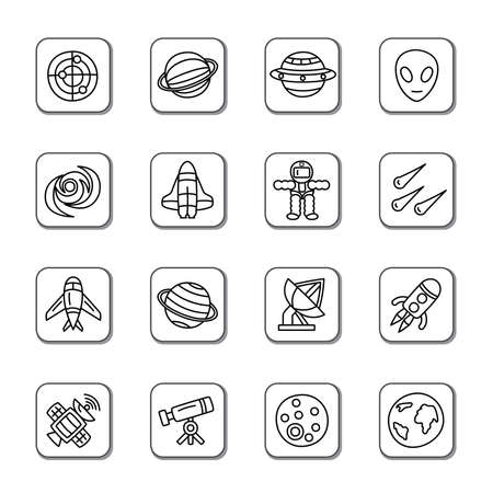 Space Element Doodle Icons Vector