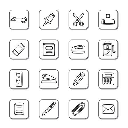 decorate notebook: Stationary Doodle Icons Illustration