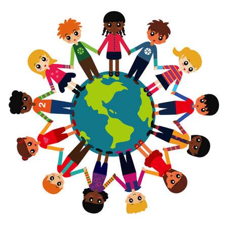 mixed race children: Children around the world Illustration