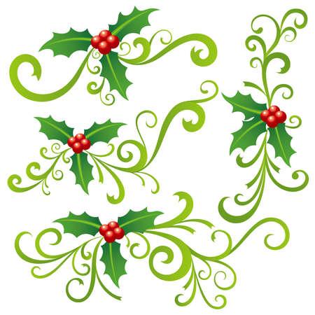 クリスマス柊とスクロール