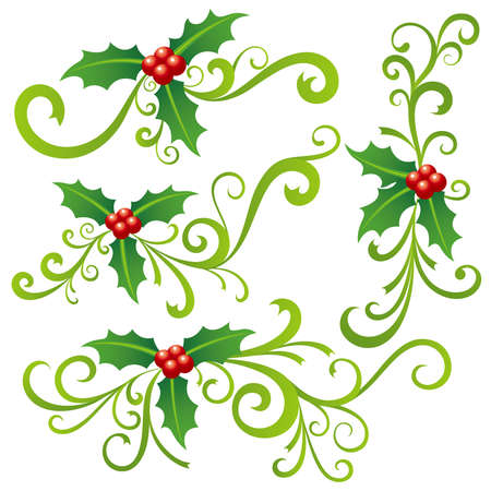 christmas scroll: Christmas Holly and Scrolls Illustration