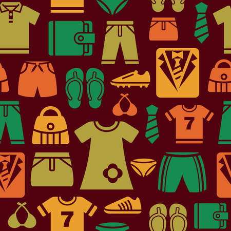Clothing and Accessories Icons Seamless Background Vector