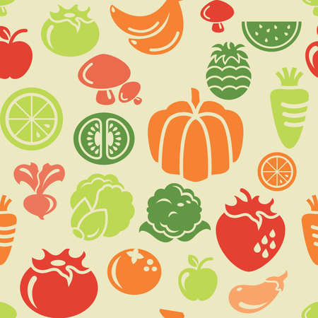 Food and Vegetable Icons in Seamless Background Vector