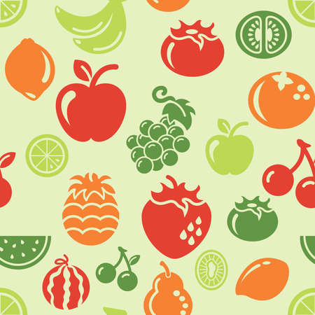 Fruit Icons in Seamless Background Vector