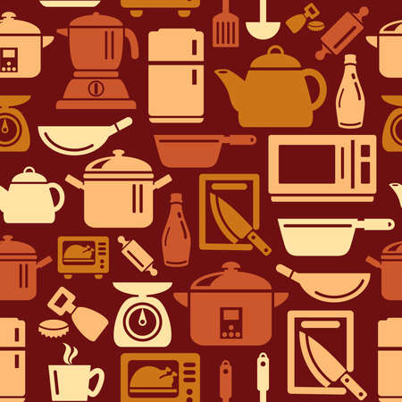 slotted: Kitchen Utensils and Appliances Icons in Seamless Background