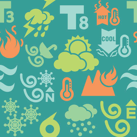 Weather Icons in Seamless Background Vector