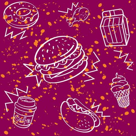main course: Fast Food Seamless Background