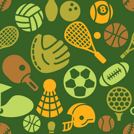 Sport Icons in Seamless Background Vector