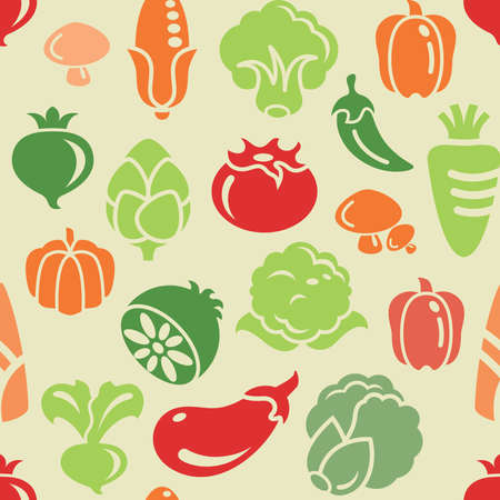 spinach: Vegetable Icons Seamless Background