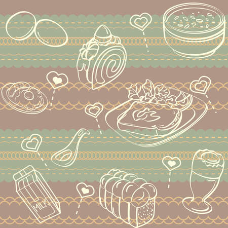 Breakfast Seamless Background Vector