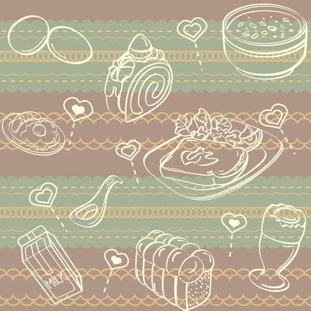 Breakfast Seamless Background Illustration