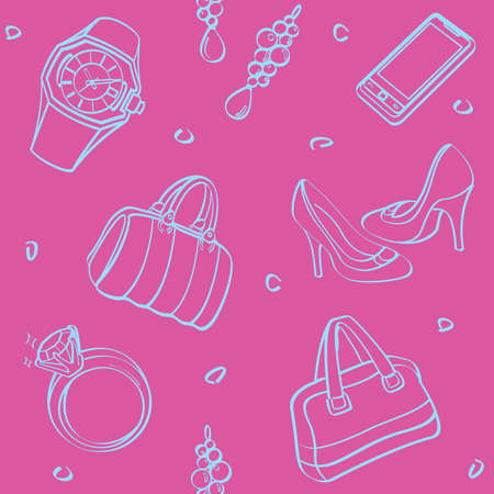 leather goods: Shopping Set and Consumer Goods Seamless Background Illustration