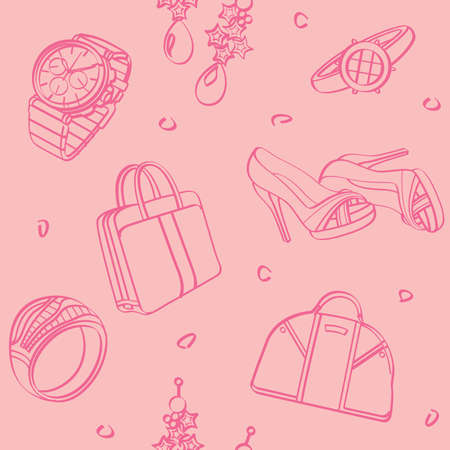 Shopping Set and Consumer Goods Seamless Background Vector
