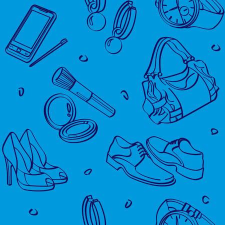 consumer goods: Shopping Set and Consumer Goods Seamless Background Illustration