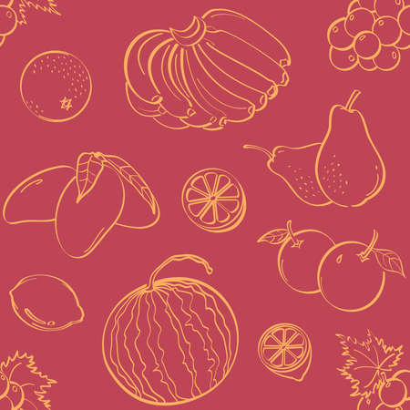 Fruits Seamless Background Vector