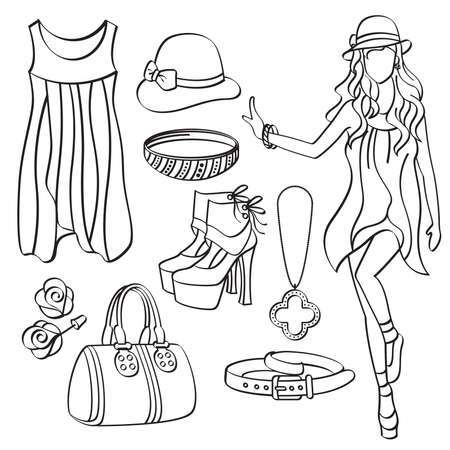 clothes line: Fashion Lady with Clothing and Accessories Illustration