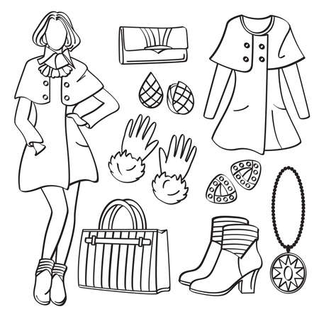 art show: Fashion Lady with Clothing and Accessories Illustration